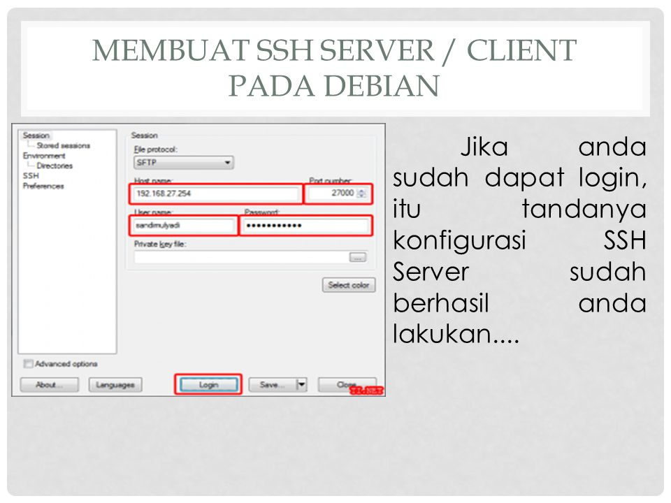 MEMBUAT SSH SERVER / CLIENT PADA DEBIAN