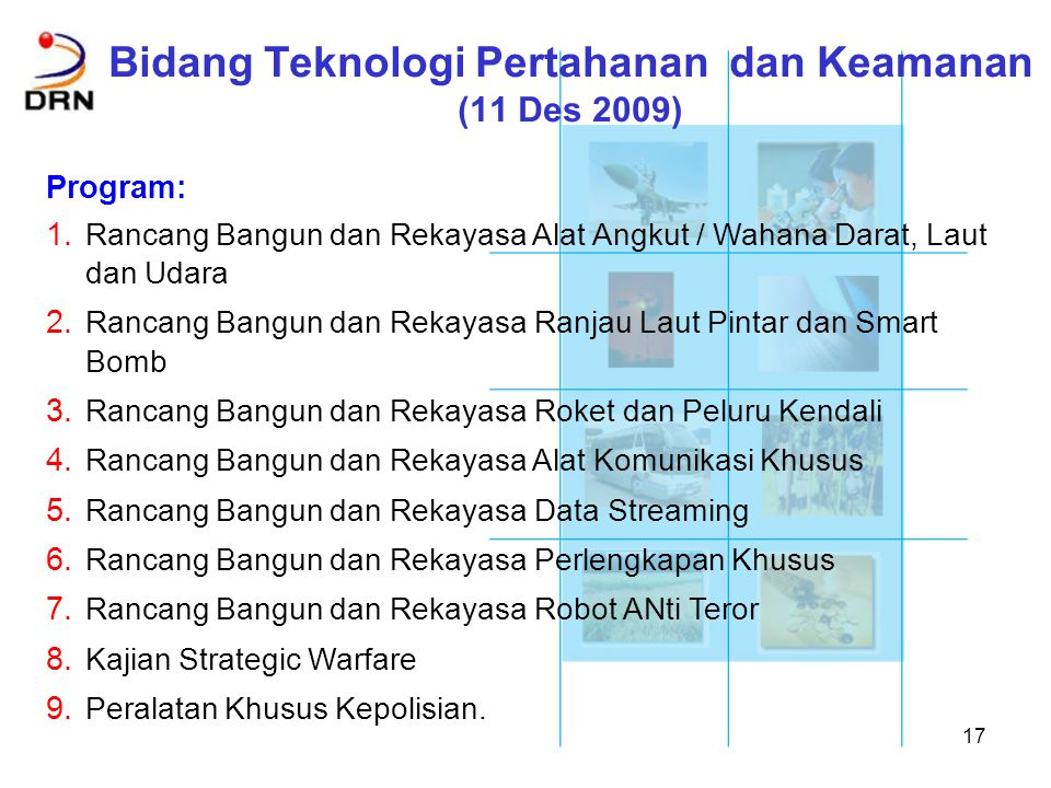 Bidang Teknologi Pertahanan dan Keamanan (11 Des 2009)