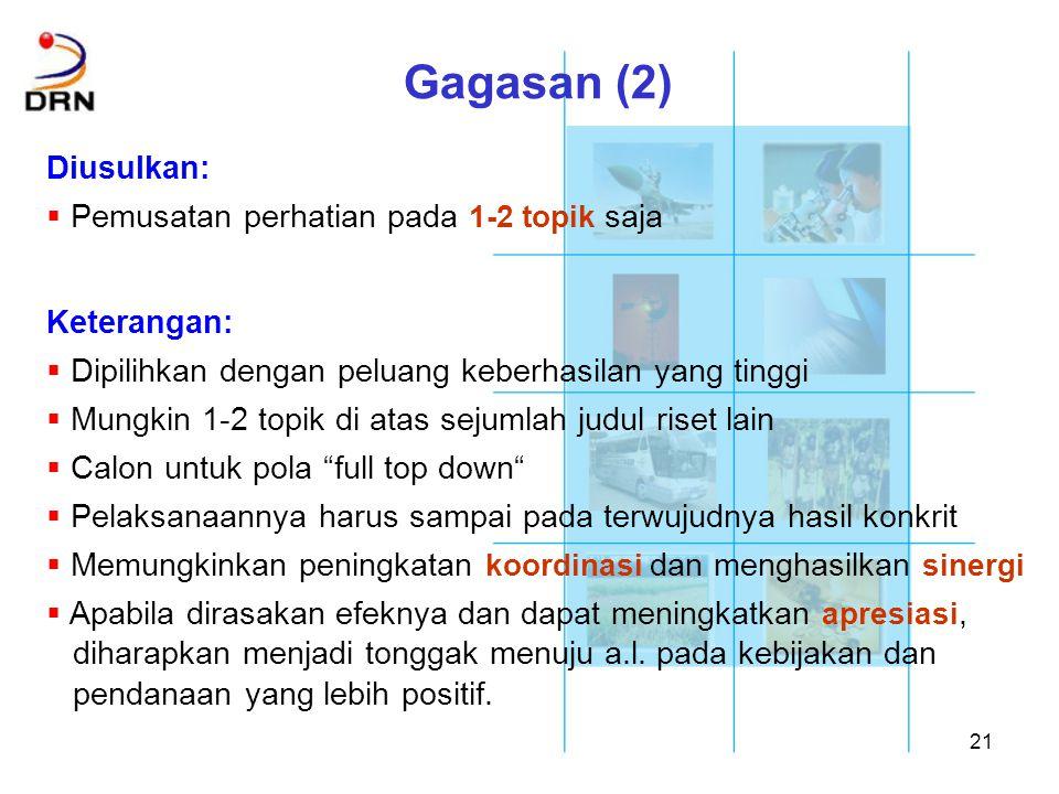 Gagasan (2) Diusulkan: Pemusatan perhatian pada 1-2 topik saja