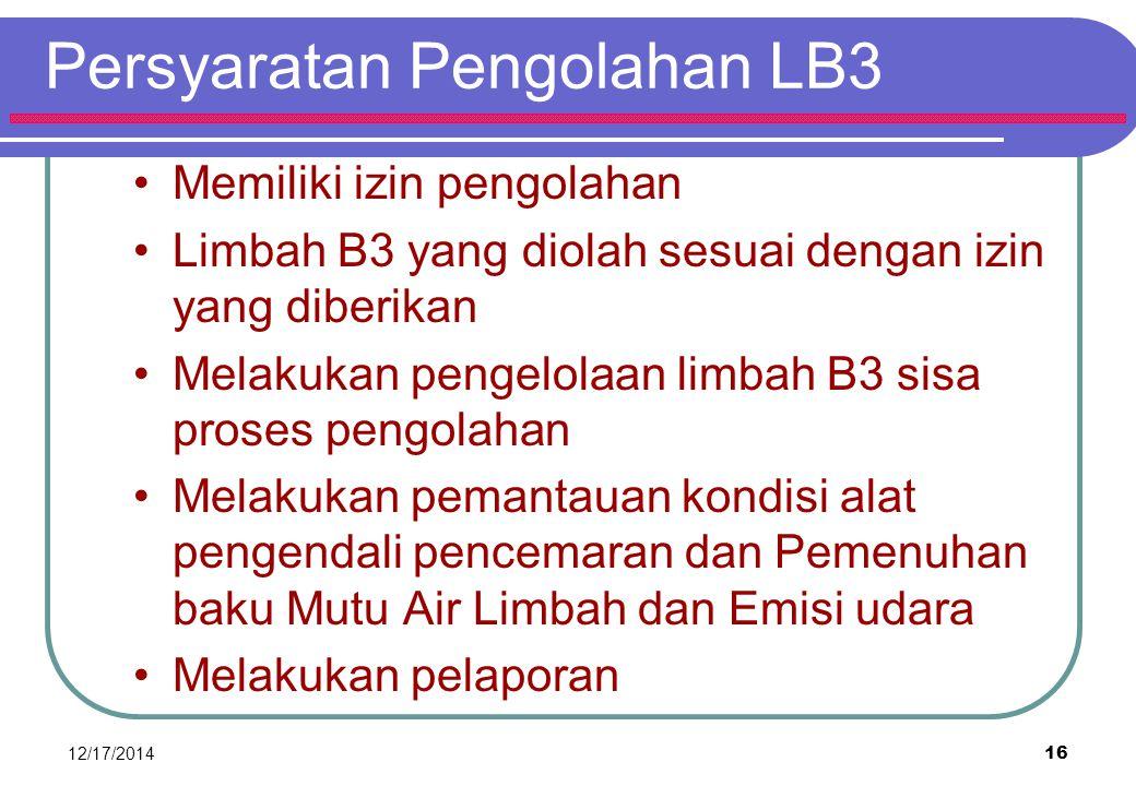 Persyaratan Pengolahan LB3