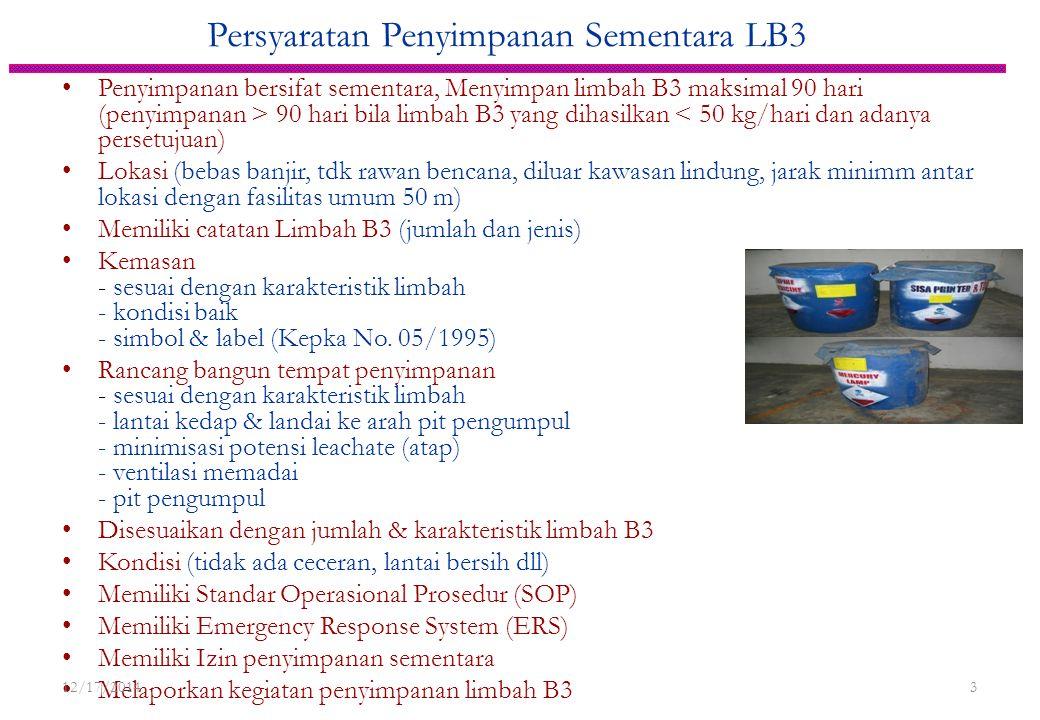 Persyaratan Penyimpanan Sementara LB3