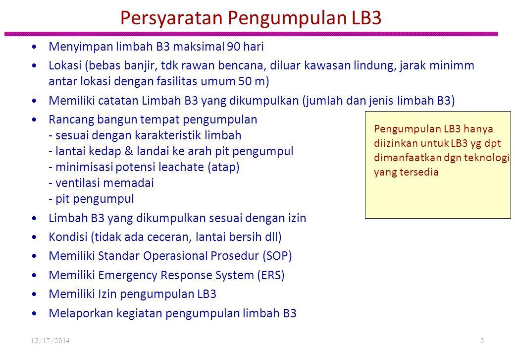 Persyaratan Pengumpulan LB3