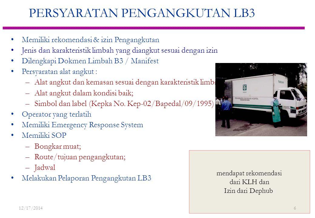 PERSYARATAN PENGANGKUTAN LB3