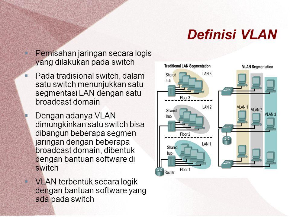Definisi VLAN Pemisahan jaringan secara logis yang dilakukan pada switch.