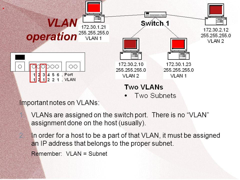 VLAN operation . Important notes on VLANs: