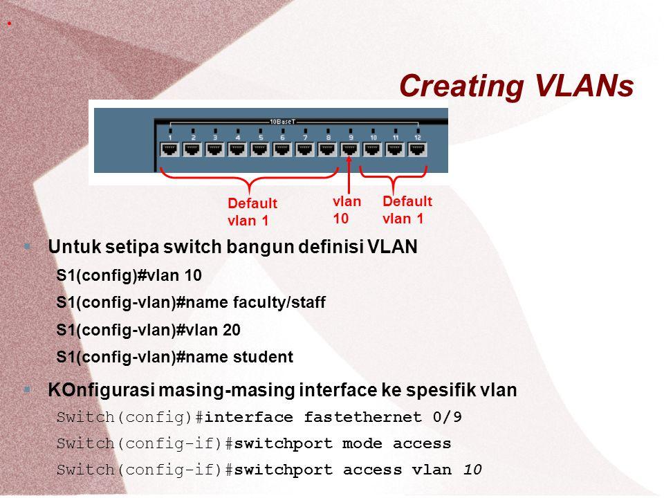Creating VLANs . Untuk setipa switch bangun definisi VLAN