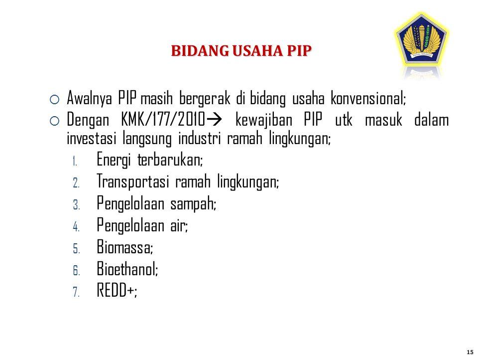 Awalnya PIP masih bergerak di bidang usaha konvensional;
