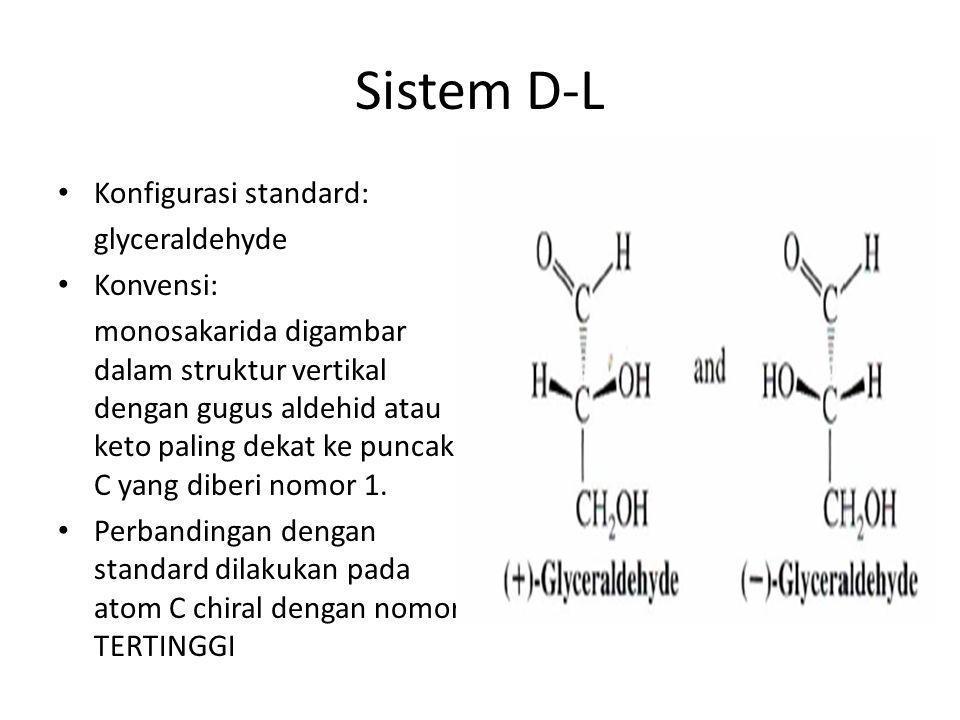 Sistem D-L Konfigurasi standard: glyceraldehyde Konvensi: