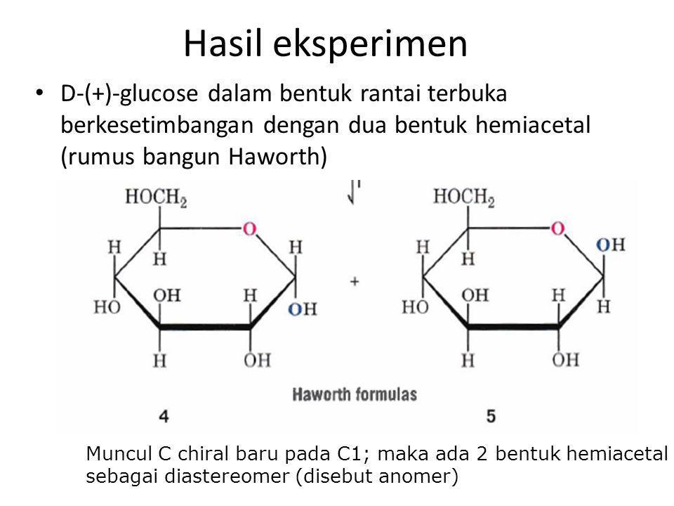 Hasil eksperimen D-(+)-glucose dalam bentuk rantai terbuka berkesetimbangan dengan dua bentuk hemiacetal (rumus bangun Haworth)