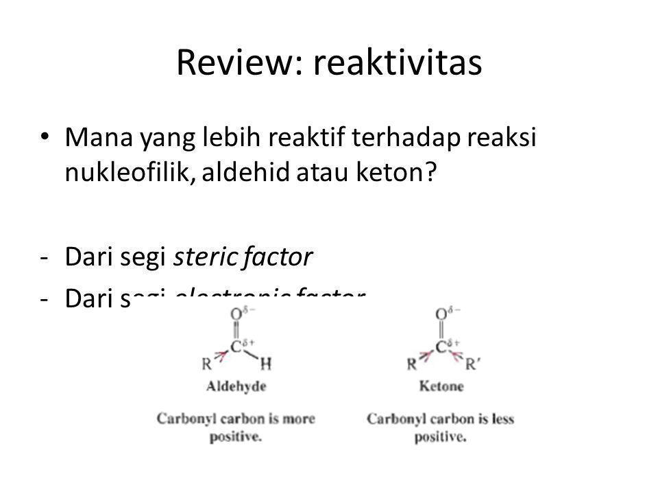 Review: reaktivitas Mana yang lebih reaktif terhadap reaksi nukleofilik, aldehid atau keton Dari segi steric factor.