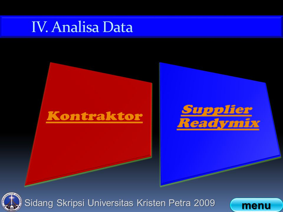 IV. Analisa Data Kontraktor Supplier Readymix menu