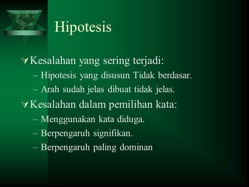 Hipotesis Kesalahan yang sering terjadi: