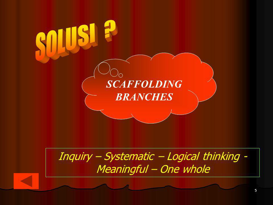Inquiry – Systematic – Logical thinking - Meaningful – One whole