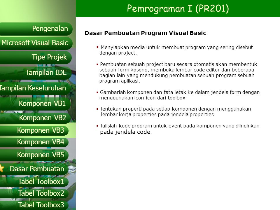 Dasar Pembuatan Program Visual Basic