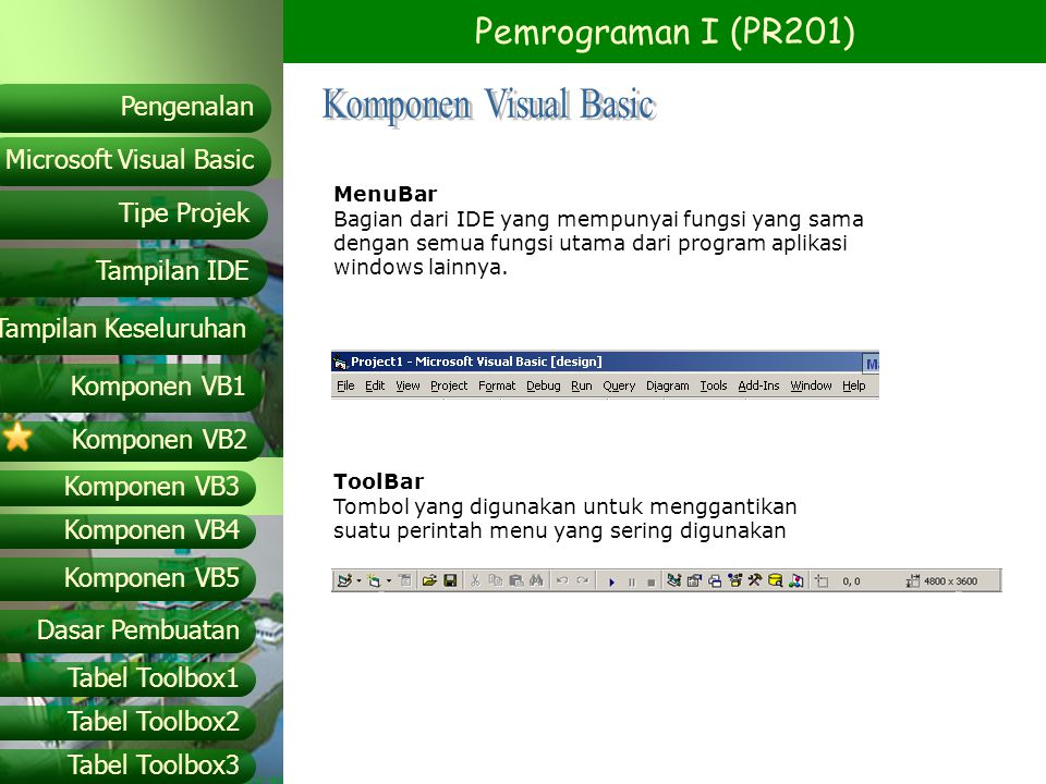 Komponen Visual Basic MenuBar