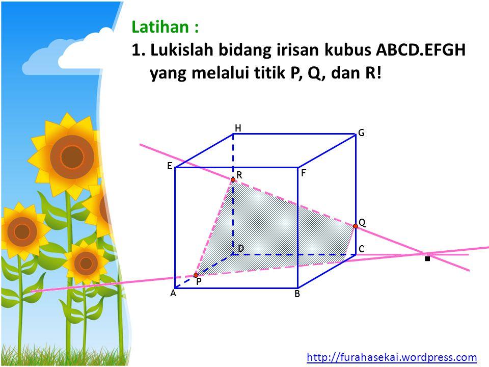 Latihan : 1. Lukislah bidang irisan kubus ABCD.EFGH yang melalui titik P, Q, dan R! A. B. C. D.