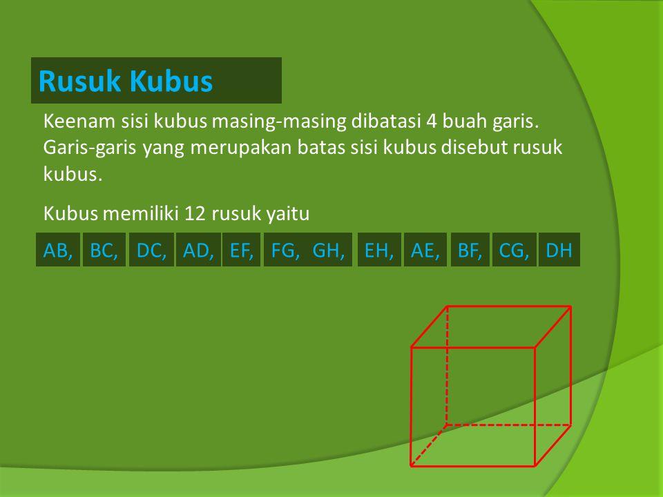 Rusuk Kubus Keenam sisi kubus masing-masing dibatasi 4 buah garis. Garis-garis yang merupakan batas sisi kubus disebut rusuk kubus.