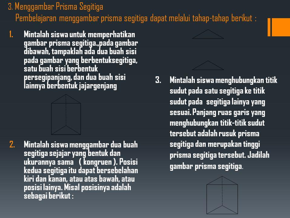3. Menggambar Prisma Segitiga Pembelajaran menggambar prisma segitiga dapat melalui tahap-tahap berikut :