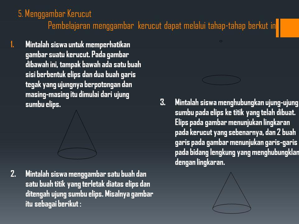 5. Menggambar Kerucut Pembelajaran menggambar kerucut dapat melalui tahap-tahap berkut ini: