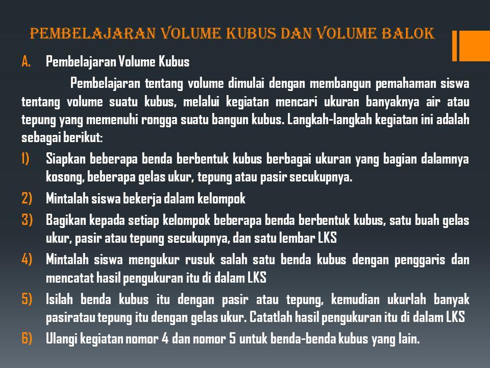 PEMBELAJARAN VOLUME KUBUS DAN VOLUME BALOK