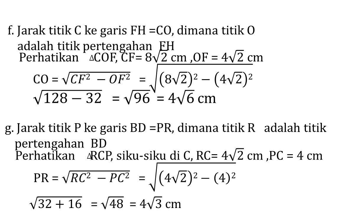 f. Jarak titik C ke garis FH =CO, dimana titik O adalah titik pertengahan FH