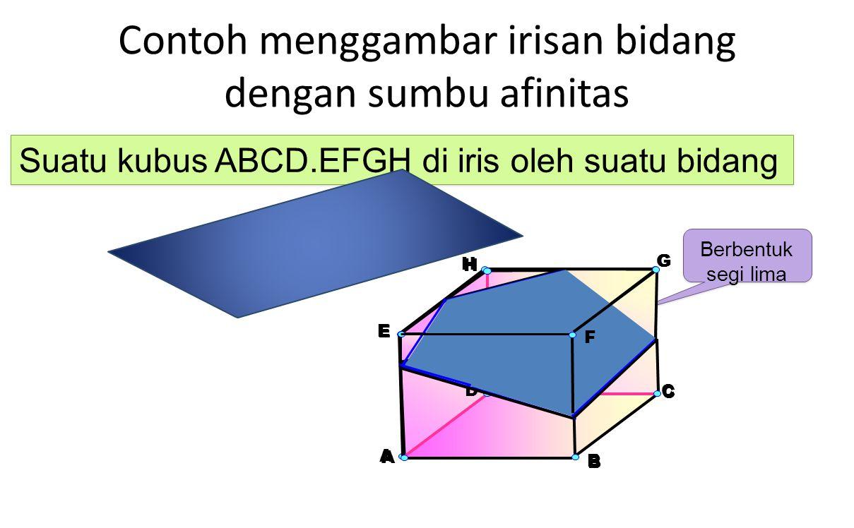 Contoh menggambar irisan bidang dengan sumbu afinitas