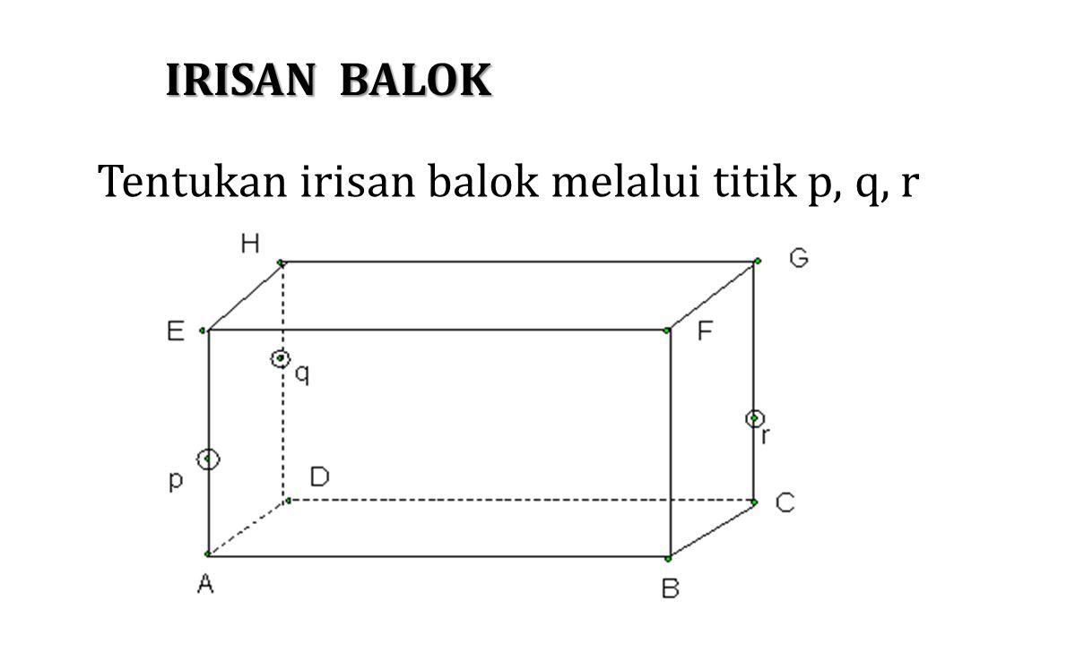 IRISAN BALOK Tentukan irisan balok melalui titik p, q, r