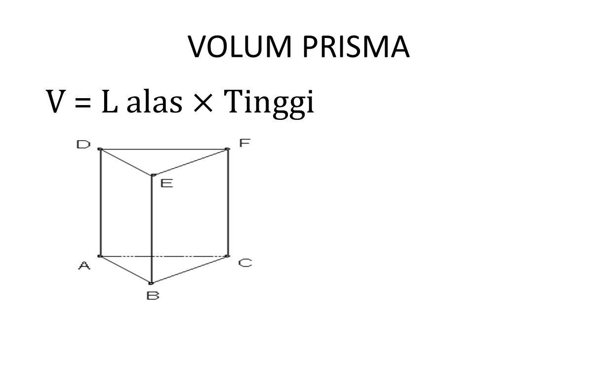 VOLUM PRISMA V = L alas × Tinggi
