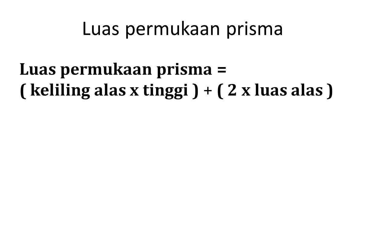 Luas permukaan prisma Luas permukaan prisma =