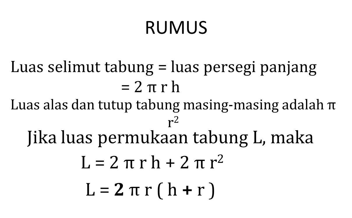 Luas alas dan tutup tabung masing-masing adalah π r2