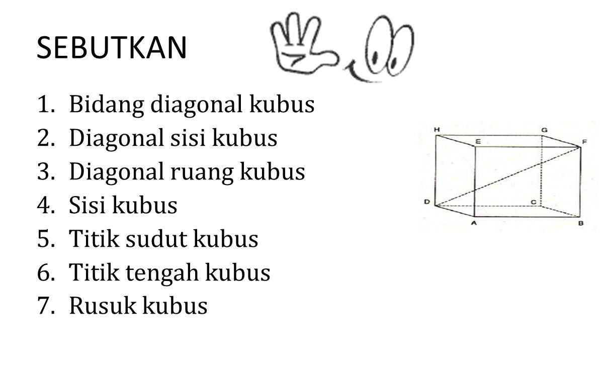 SEBUTKAN Bidang diagonal kubus Diagonal sisi kubus