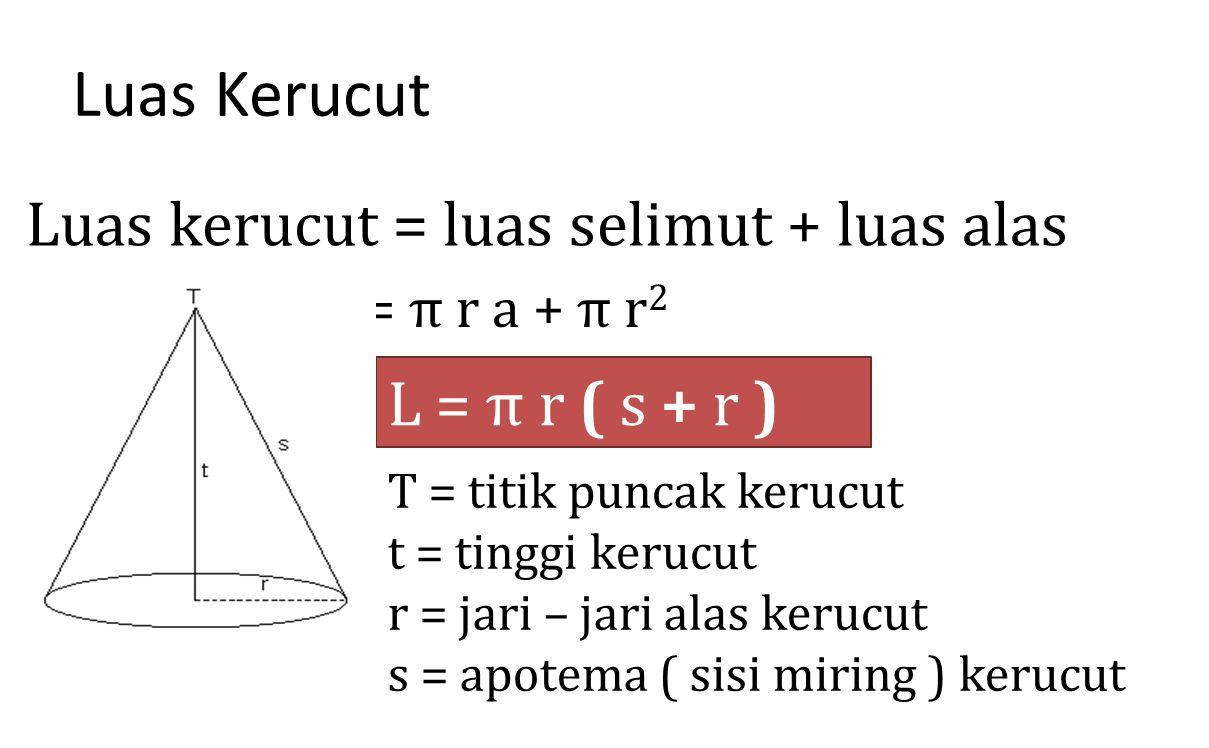 Luas Kerucut Luas kerucut = luas selimut + luas alas L = π r ( s + r )