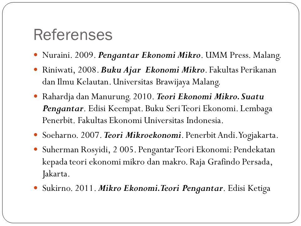 Referenses Nuraini. 2009. Pengantar Ekonomi Mikro. UMM Press. Malang.