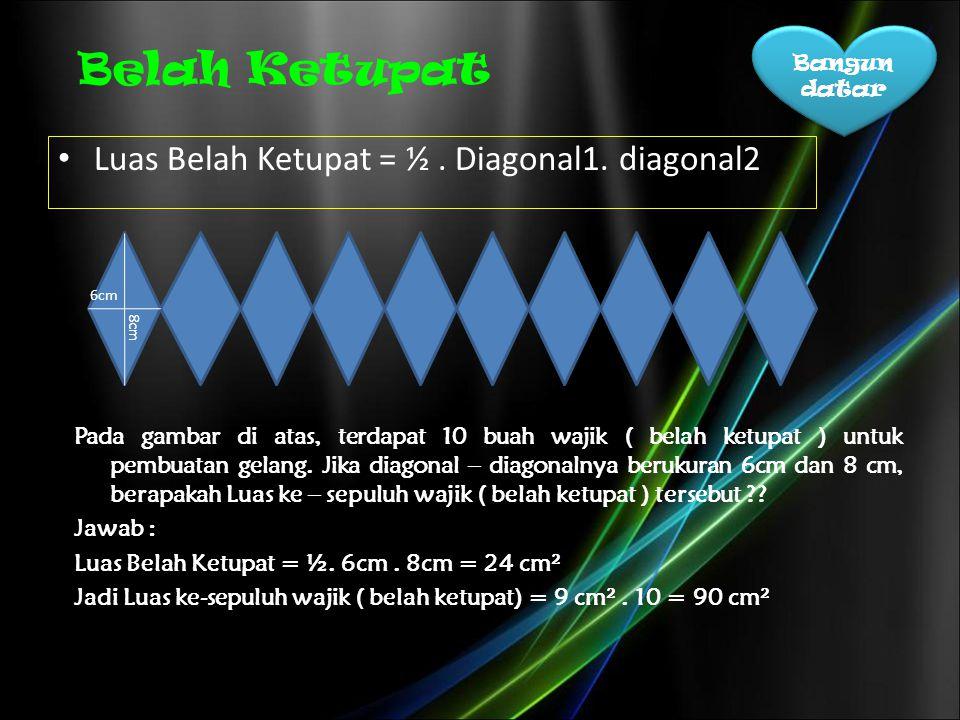 Belah Ketupat Luas Belah Ketupat = ½ . Diagonal1. diagonal2