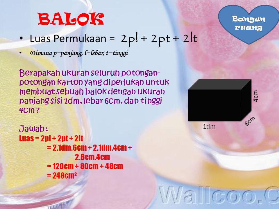 BALOK Luas Permukaan = 2pl + 2pt + 2lt