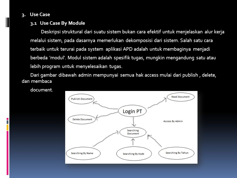 3. Use Case 3.1 Use Case By Module. Deskripsi struktural dari suatu sistem bukan cara efektif untuk menjelaskan alur kerja.