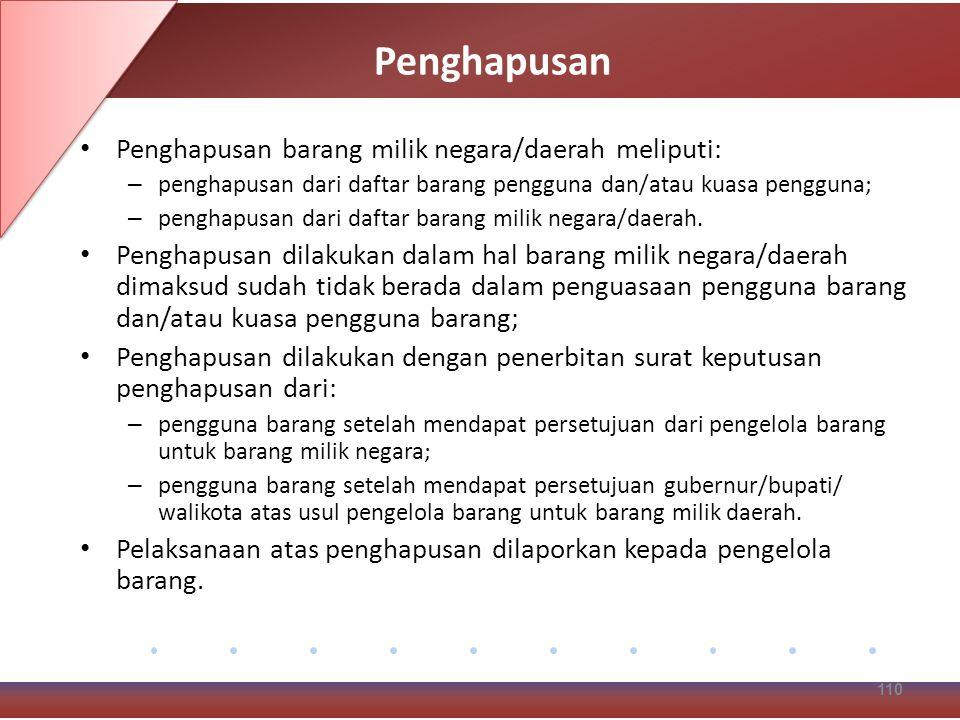 Penghapusan Penghapusan barang milik negara/daerah meliputi: