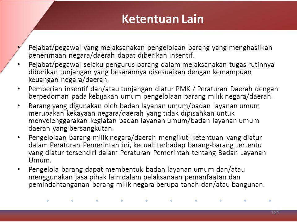 Ketentuan Lain Pejabat/pegawai yang melaksanakan pengelolaan barang yang menghasilkan penerimaan negara/daerah dapat diberikan insentif.