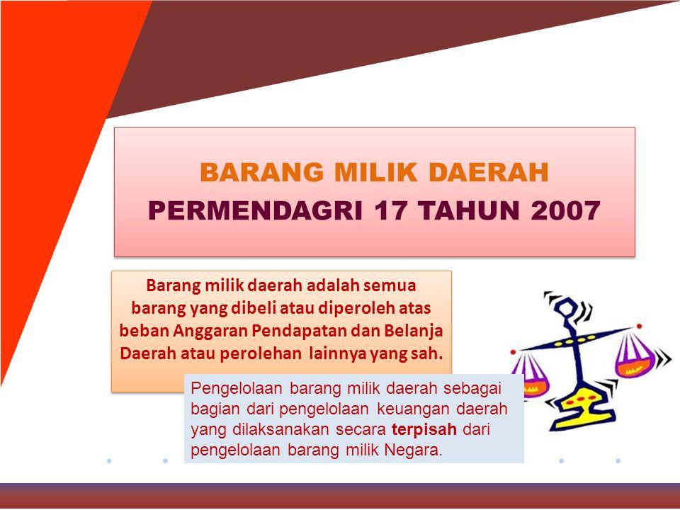 BARANG MILIK DAERAH PERMENDAGRI 17 TAHUN 2007