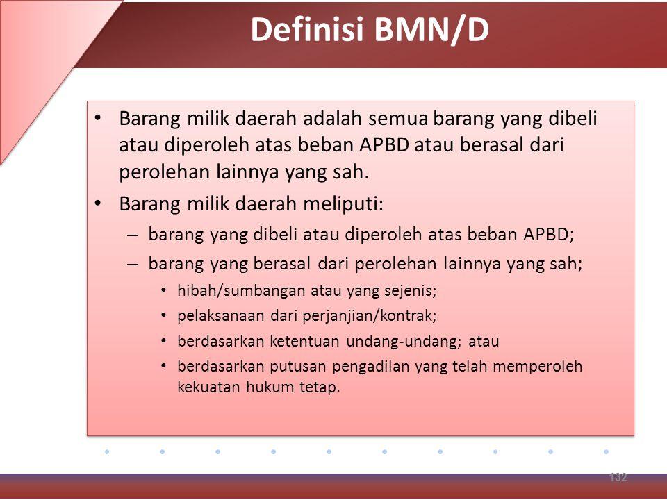 Definisi BMN/D Barang milik daerah adalah semua barang yang dibeli atau diperoleh atas beban APBD atau berasal dari perolehan lainnya yang sah.