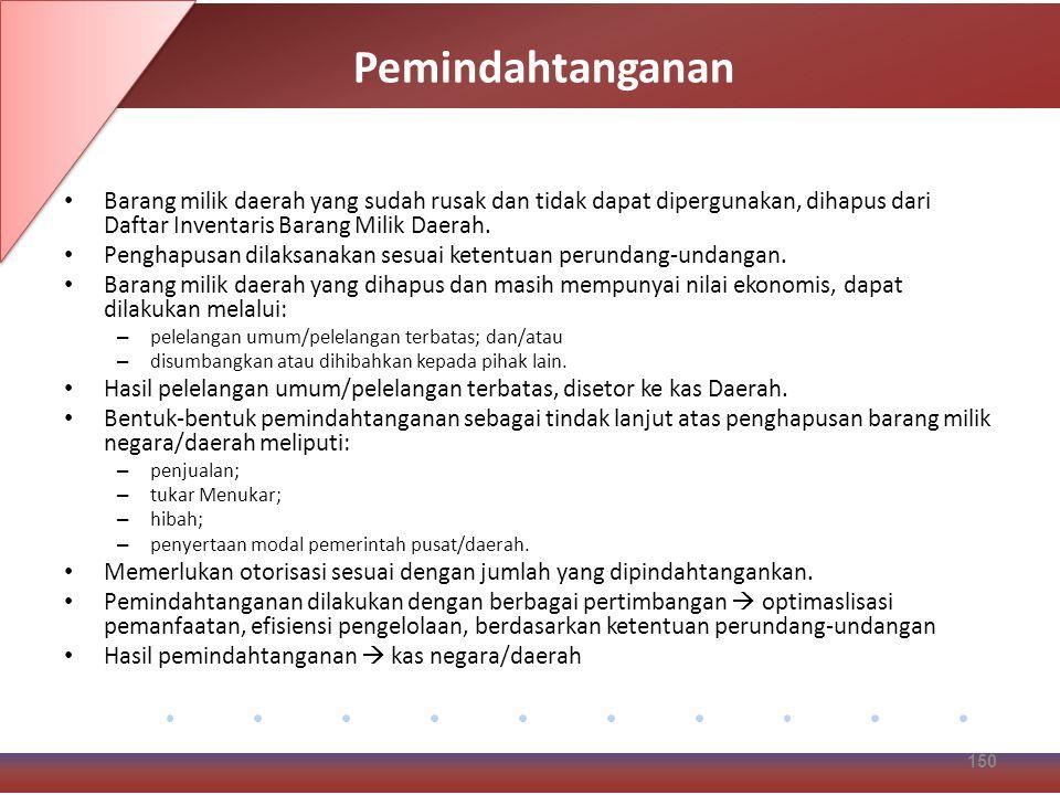 Pemindahtanganan Barang milik daerah yang sudah rusak dan tidak dapat dipergunakan, dihapus dari Daftar Inventaris Barang Milik Daerah.