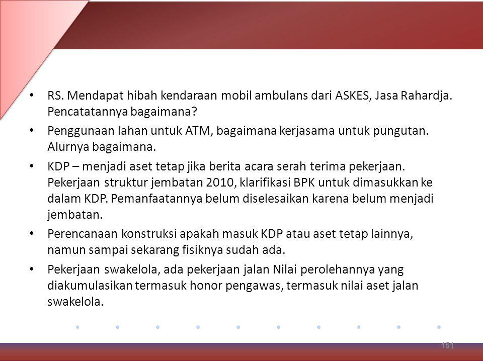 RS. Mendapat hibah kendaraan mobil ambulans dari ASKES, Jasa Rahardja