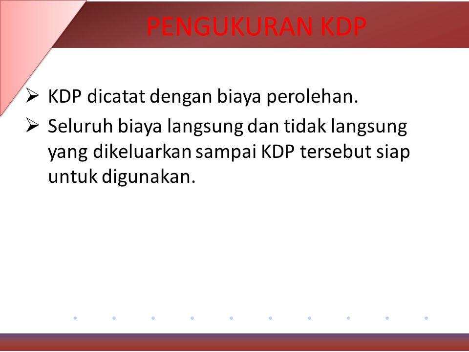 PENGUKURAN KDP KDP dicatat dengan biaya perolehan.