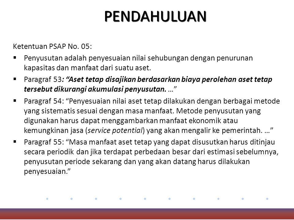 PENDAHULUAN Ketentuan PSAP No. 05: