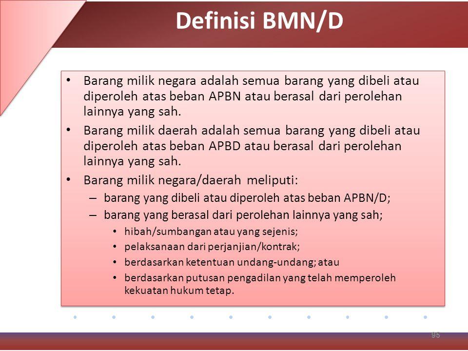 Definisi BMN/D Barang milik negara adalah semua barang yang dibeli atau diperoleh atas beban APBN atau berasal dari perolehan lainnya yang sah.