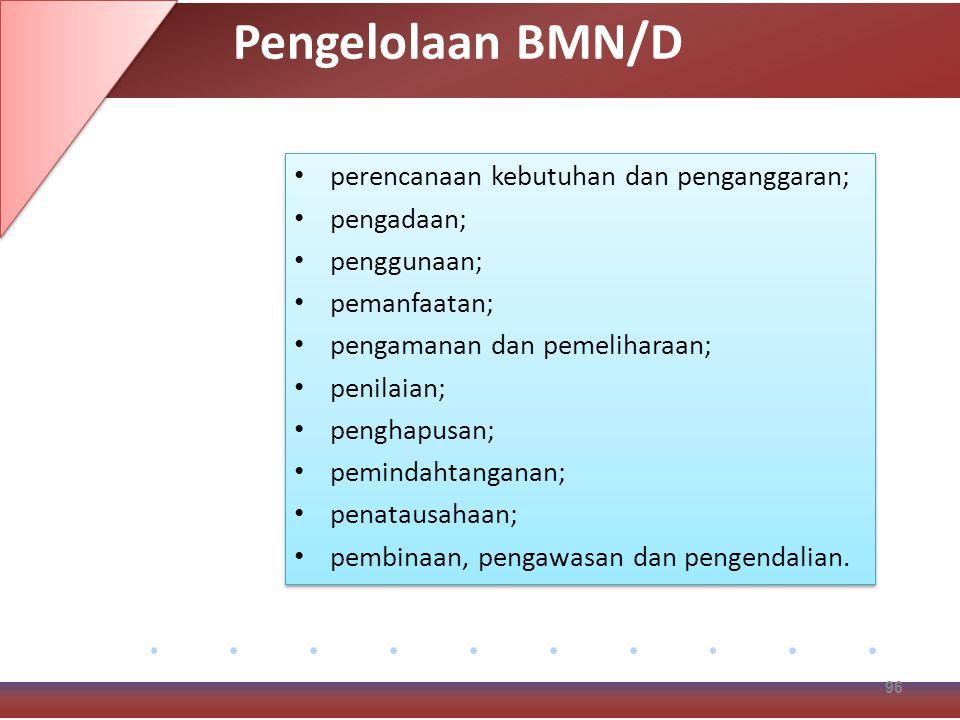 Pengelolaan BMN/D perencanaan kebutuhan dan penganggaran; pengadaan;