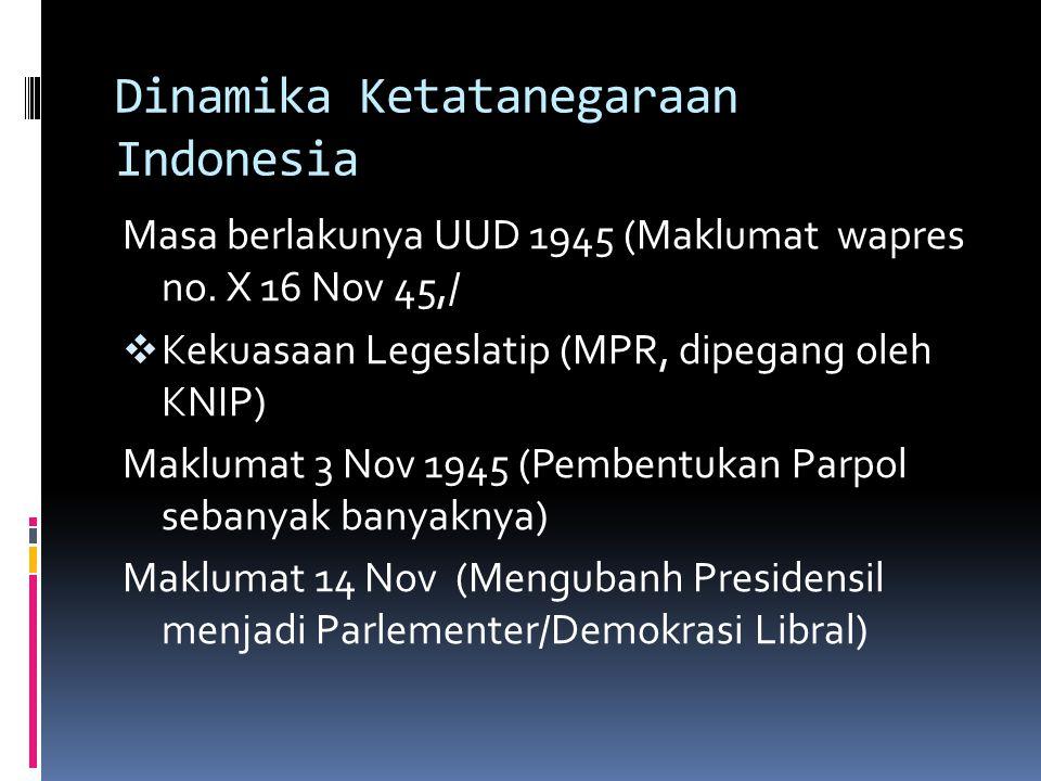 Dinamika Ketatanegaraan Indonesia