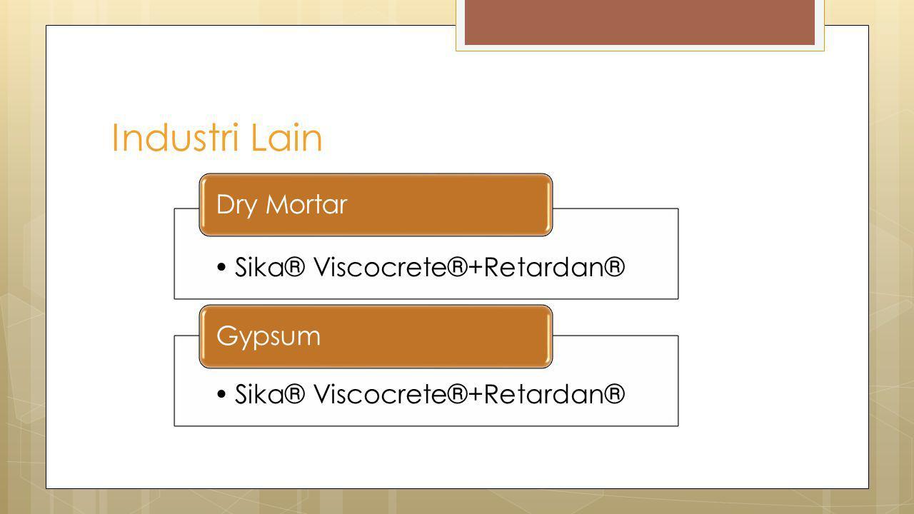 Industri Lain Sika® Viscocrete®+Retardan® Dry Mortar Gypsum