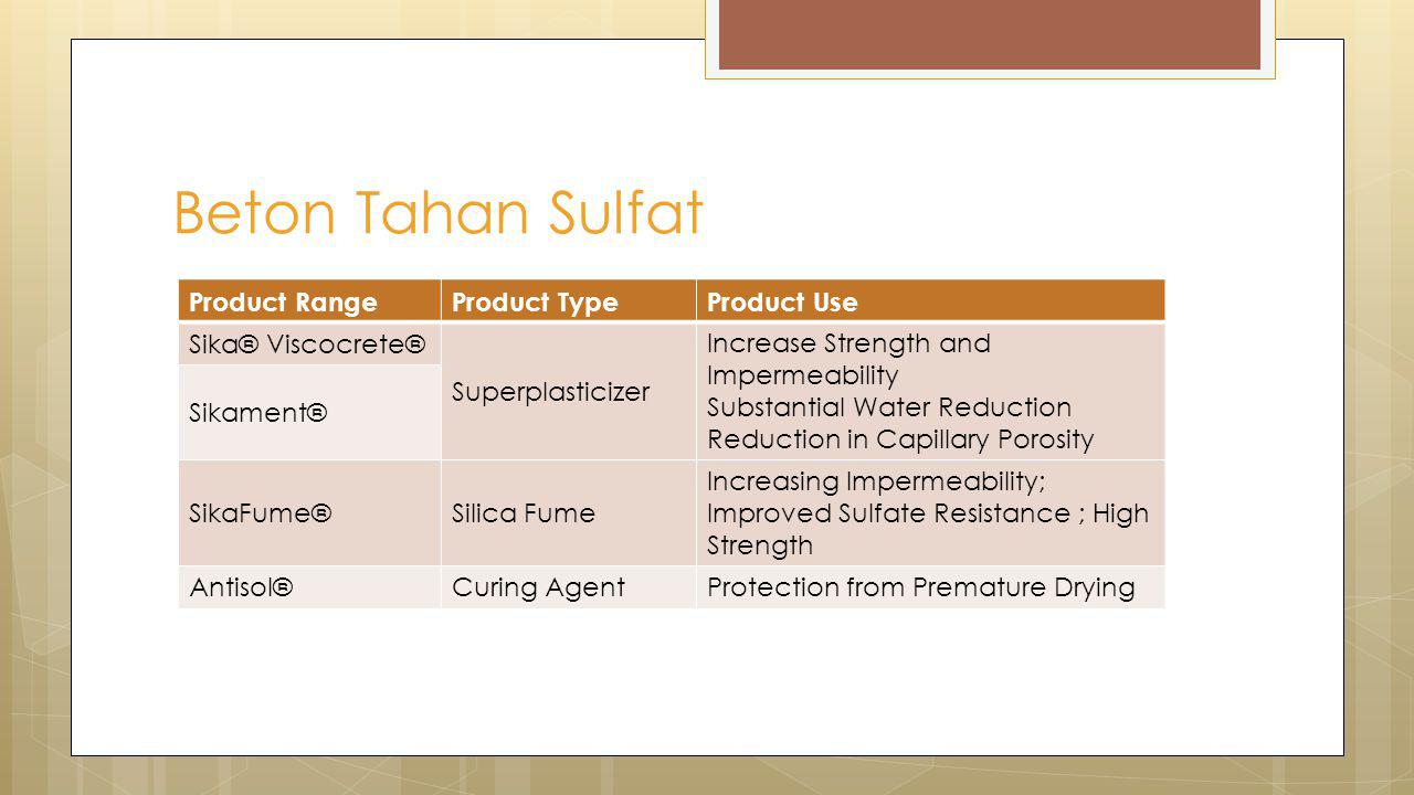 Beton Tahan Sulfat Product Range Product Type Product Use