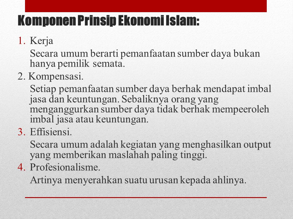 Komponen Prinsip Ekonomi Islam: